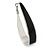 Rhodium Plated Black Enamel Oval Hoop Earrings - 6cm Length - view 6