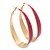 Gold Plated Fuchsia Enamel Oval Hoop Earrings - 6cm Length