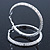 Large Light Silver Tone Mesh Hoop Earrings - 65mm Diameter