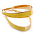 Gold Plated Yellow Enamel Oval Hoop Earrings - 6cm Length - view 2
