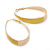 Gold Plated Yellow Enamel Oval Hoop Earrings - 6cm Length - view 3