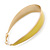 Gold Plated Yellow Enamel Oval Hoop Earrings - 6cm Length - view 5