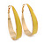 Gold Plated Yellow Enamel Oval Hoop Earrings - 6cm Length