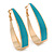 Gold Plated Teal Enamel Oval Hoop Earrings - 6cm Length