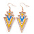 Yellow, Light Blue Enamel Crystal Triangular Drop Earrings In Gold Plating - 60mm Length
