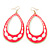 Long Lightweight Neon Pink/ White Enamel Oval Hoop Earrings In Gold Plating - 85mm Drop - view 2