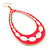 Long Lightweight Neon Pink/ White Enamel Oval Hoop Earrings In Gold Plating - 85mm Drop - view 4