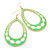 Long Lightweight Neon Green/ White Enamel Oval Hoop Earrings In Gold Plating - 85mm Drop