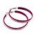 Large Magenta Enamel Hoop Earrings In Silver Tone - 60mm Diameter - view 4