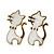 Children's/ Teen's / Kid's Small White Enamel 'Cat' Stud Earrings In Gold Plating - 15mm Length