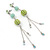 Long Light Green Fabric, Light Blue Glass Bead Chain Dangle Earrings In Silver Tone - 11cm Length - view 2