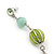 Long Light Green Fabric, Light Blue Glass Bead Chain Dangle Earrings In Silver Tone - 11cm Length - view 3