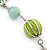 Long Light Green Fabric, Light Blue Glass Bead Chain Dangle Earrings In Silver Tone - 11cm Length - view 4