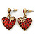 Vintage Inspired Red Enamel, Crystal 'Heart' Drop Earrings In Antique Gold Metal - 33mm Length
