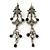 Vintage Inspired Grey Enamel, Crystal, Bead Drop Earrings With Leverback Closure In Antique Silver Metal - 65mm Length