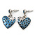 Vintage Inspired Blue Enamel, Crystal 'Heart' Drop Earrings In Antique Silver Metal - 33mm Length