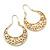 Matt Gold Floral Hoop Earring - 50mm Length