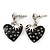 Vintage Inspired Black Enamel, Crystal 'Heart' Drop Earrings In Silver Tone Metal - 33mm Length - view 1