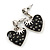 Vintage Inspired Black Enamel, Crystal 'Heart' Drop Earrings In Silver Tone Metal - 33mm Length - view 2