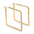 Gold Plated Crystal Square Hoop Earrings - 45mm Width