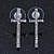 Rhodium Plated Clear Austrian Crystals 'Cross' Stud Earrings - 30mm Length