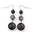 Black Acrylic Bead Drop Earrings In Silver Tone - 5cm Length