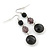 Black Acrylic Bead Drop Earrings In Silver Tone - 5cm Length - view 6