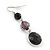 Black Acrylic Bead Drop Earrings In Silver Tone - 5cm Length - view 3