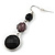 Black Acrylic Bead Drop Earrings In Silver Tone - 5cm Length - view 7