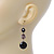 Black Acrylic Bead Drop Earrings In Silver Tone - 5cm Length - view 5