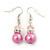 Pink Glass Pearl, Crystal Drop Earrings In Rhodium Plating - 40mm Length