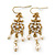Vintage Inspired Diamante, Simulated Pearl Floral Drop Earrings In Gold Plating - 50mm Length - view 1