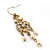 Vintage Inspired Diamante, Simulated Pearl Floral Drop Earrings In Gold Plating - 50mm Length - view 3