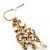 Vintage Inspired Diamante, Simulated Pearl Floral Drop Earrings In Gold Plating - 50mm Length - view 4