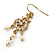 Vintage Inspired Diamante, Simulated Pearl Floral Drop Earrings In Gold Plating - 50mm Length - view 6