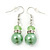 Lime Green Glass Pearl, Crystal Drop Earrings In Rhodium Plating - 40mm Length - view 1