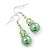 Lime Green Simulated Glass Pearl, Crystal Drop Earrings In Rhodium Plating - 40mm Length - view 2