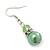 Lime Green Glass Pearl, Crystal Drop Earrings In Rhodium Plating - 40mm Length - view 3