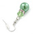 Lime Green Glass Pearl, Crystal Drop Earrings In Rhodium Plating - 40mm Length - view 4
