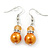 Orange Simulated Glass Pearl, Crystal Drop Earrings In Rhodium Plating - 40mm Length