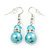 Light Blue Glass Pearl, Crystal Drop Earrings In Rhodium Plating - 40mm Length