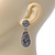 Bridal, Prom, Wedding Pave Hematite Coloured Austrian Crystal Teardrop Earrings In Rhodium Plating - 48mm Length - view 3