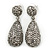 Bridal, Prom, Wedding Pave Hematite Coloured Austrian Crystal Teardrop Earrings In Rhodium Plating - 48mm Length - view 1