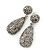 Bridal, Prom, Wedding Pave Hematite Coloured Austrian Crystal Teardrop Earrings In Rhodium Plating - 48mm Length - view 8