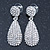Bridal, Prom, Wedding Pave Clear Austrian Crystal Teardrop Earrings In Rhodium Plating - 48mm Length