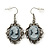 Vintage Inspired Grey Crystal Cameo Drop Earrings In Silver Tone Metal - 45mm Length