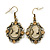 Vintage Inspired Champagne Crystal Cameo Drop Earrings In Antique Gold Metal - 45mm Length