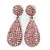 Bridal, Prom, Wedding Pave Pink Austrian Crystal Teardrop Earrings In Rhodium Plating - 48mm Length