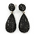 Pave Jet Black Austrian Crystal Teardrop Earrings In Rhodium Plating - 48mm Length
