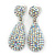 Bridal, Prom, Wedding Pave AB Austrian Crystal Teardrop Earrings In Rhodium Plating - 48mm Length